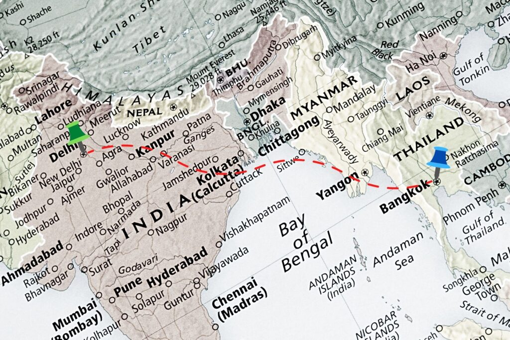 India to Thailand Map